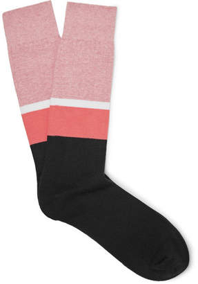N/A Colour-Block Stretch Cotton-Blend Socks