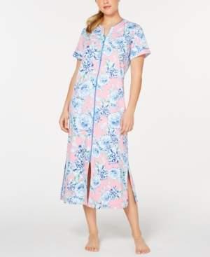 Miss Elaine Flower-Print Interlock-Knit Zip-Up Robe