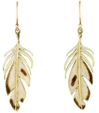 Annette Ferdinandsen 18K Enamel Feather Drop Earrings