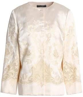 Dolce & Gabbana Mesh-Trimmed Embroidered Silk-Blend Twill Jacket