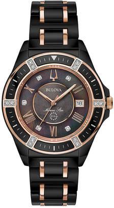 Bulova Women Diamond-Accent Marine Star Two-Tone Ceramic Bracelet Watch 37mm