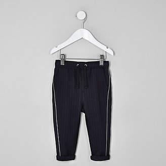 River Island Mini boys navy pinstripe piped pants
