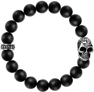 King Baby Studio Unisex 925 Sterling Silver Day of the Dead Skull and 10 mm Black Onyx Bead Bracelet of 22.22 cm