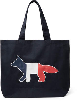 MAISON KITSUNÉ Logo-Print Cotton-Blend Twill Tote Bag