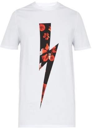 Neil Barrett Floral Lightning Bolt Print Cotton Blend T Shirt - Mens - Red White