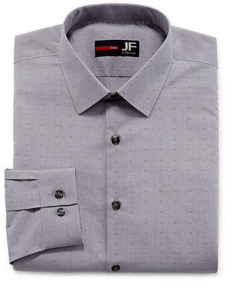 Jf J.Ferrar Easy-Care Stretch Solid Long-Sleeve Broadcloth Dress Shirt - Slim