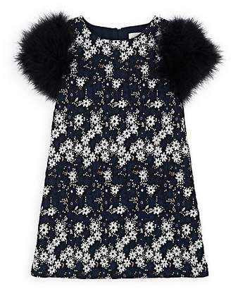 Charabia Kids' Feather-Trimmed Floral Cotton Dress