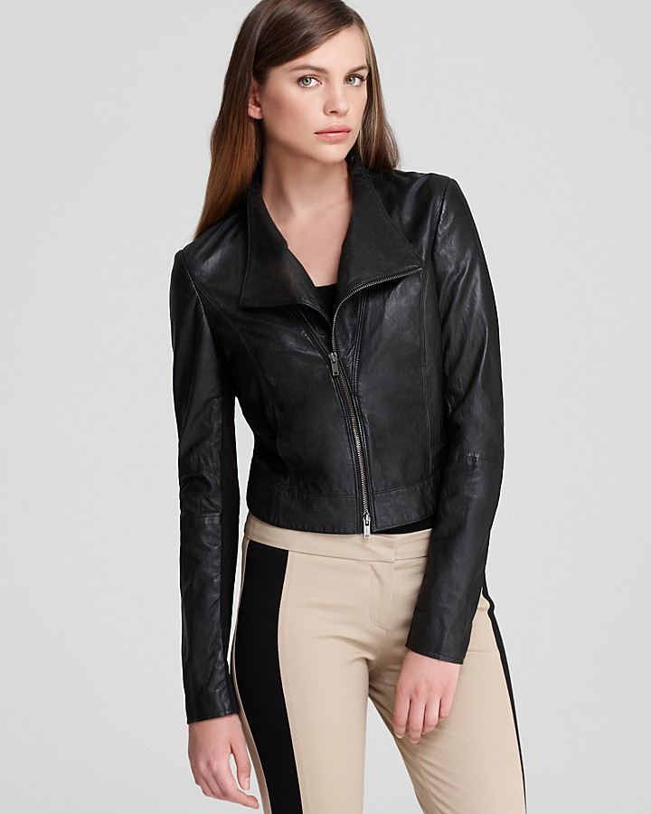 DKNY Leather Jacket with Ponte Insets