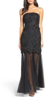 Women's Vera Wang Strapless Lace Gown $398 thestylecure.com
