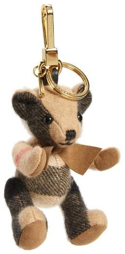 Women's Burberry 'Thomas Bear' Check Cashmere Bag Charm - Brown