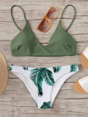 Shein Plus Thin Strap Top With Tropical Bikini Set