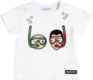 Dolce & Gabbana Designers Patches Cotton Jersey T-Shirt