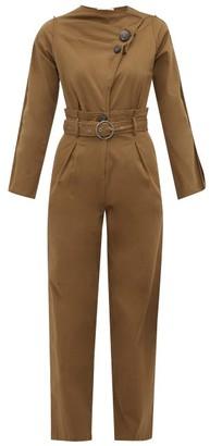 Sea Scout Belted Cotton Blend Jumpsuit - Womens - Khaki