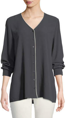 Eileen Fisher Contrast-Piping Silk Top