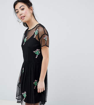 Asos Design Petite Mesh Smock Dress With Cactus Applique