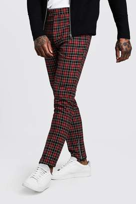 boohoo Tartan Smart Trouser With Zip Ankle Detail