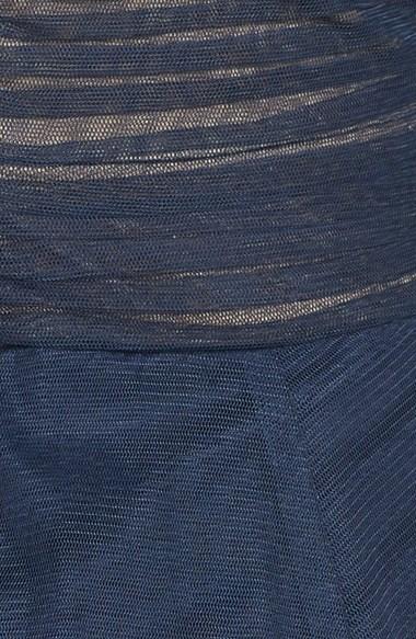 Tadashi Shoji Portrait Collar Pleated Mesh Gown (Regular & Petite)