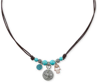 """Lucky Brand Two-Tone Multi-Stone Elephant & Hamsa Hand Beaded Leather Charm Necklace, 16-1/2"""" + 2"""" extender"""