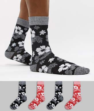 Jack and Jones 4 Pack Hawaiian Print Socks