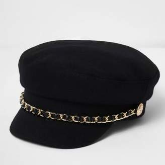 River Island Womens Black chain trim baker boy hat