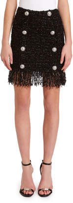Balmain 8-Button Fringed Tweed Skirt