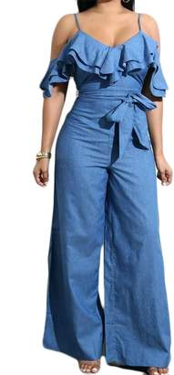 c0389f8361 KLJR-Women Plus Size Off Shoulder Ruffle Denim Jumpsuit Wide Leg Long Romper  US M