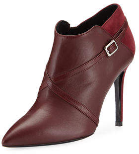Charles David Laura Point-Toe Stiletto Booties with Strap Detail