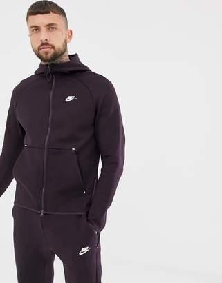 a3fc17d4f Nike Tech Fleece Zip Through Hoodie In Dark Purple 928483-659