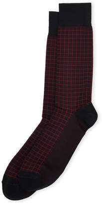Bruno Magli Windowpane Check Dress Socks