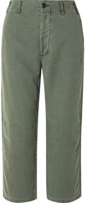 The Great The Easy Army Cropped Canvas Pants - Army green