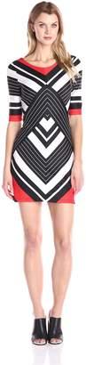 Robbie Bee Women's 1 Piece Cap Sleeve Dress Missy, Black/Red