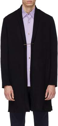Attachment Shawl lapel safety pin front melton coat