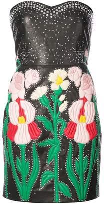 Gucci flower intarsia strapless dress