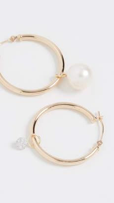 Meira T Pearl & Diamond Disc Charm Hoops