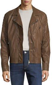 Men's Leather Biker Jacket W/ Lapels Brown