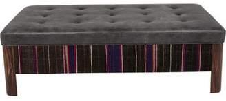 Custom Leather & Fabric-Upholstered Ottoman