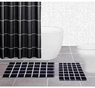 "Sparrowhawk International Sparrowhawk Brandon 100% Cotton, Reversible 2-piece Black/White Bath Rug Set 17"" x 24"""