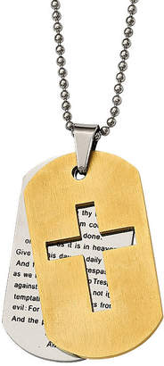 FINE JEWELRY Mens Stainless Steel Yellow Ion-Plated Lords Prayer Cross Pendant