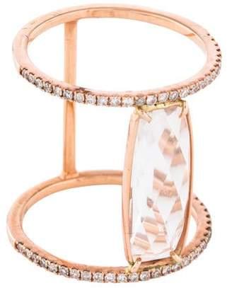Meira T 14K Rose Quartz & Diamond Cocktail Ring