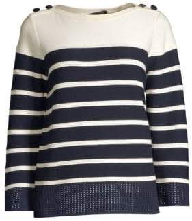 St. John Birdseye Mesh Striped Sailor Sweater