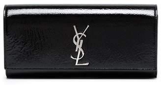 Saint Laurent Black monogram Kate patent leather clutch