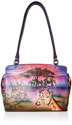 Anuschka Anna by Genuine Leather Large Satchel Shoulder Bag | Hand-Painted Original Artwork |