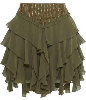 Love Sam Tiered Bead-Embellished Georgette Mini Skirt