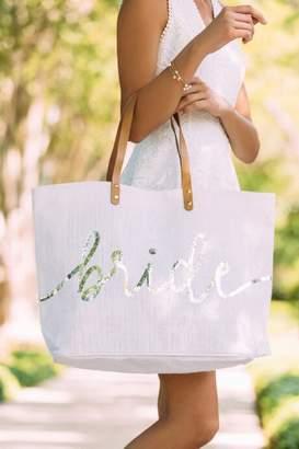 francesca's Francescas Nika Sequin Bride Tote - White