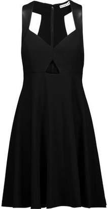 Alice + Olivia Dina Cutout Leather-Trimmed Crepe De Chine Mini Dress