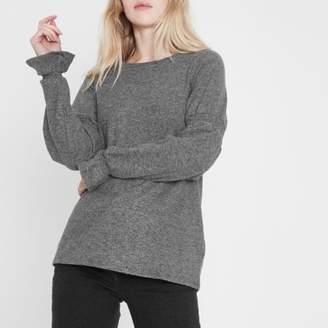 River Island Womens Grey knit shirred sleeve top