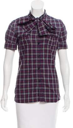 DSQUARED2 Plaid Button-Up Top w/ Tags