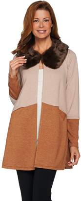 Logo By Lori Goldstein LOGO Lounge by Lori Goldstein French Terry Jacket with Faux Fur Collar