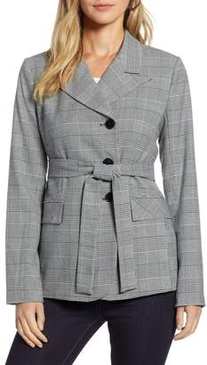Halogen Belted Plaid Blazer (Regular, Petite & Plus Size)