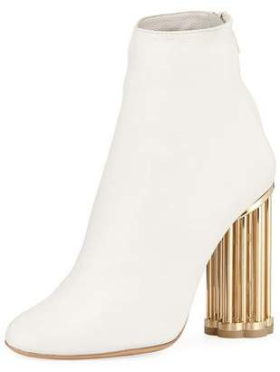 Salvatore Ferragamo Smooth Leather Booties with Sculpted Heel